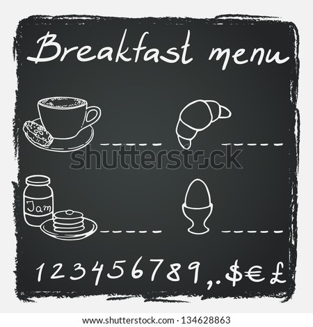 Breakfast menu with coffee cup croissant boiled egg jam and pancakes on chalkboard background Vector illustration