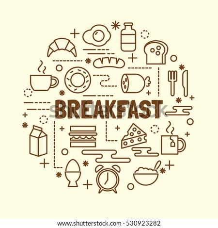 breakfast minimal thin line icons set, vector illustration design elements