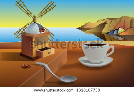 Breakfast on the beach Surreal landscape with a cup of coffee and a coffee mill by the sea. Vector illustration based on the paintings of Dali. EPS-10.