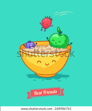 Breakfast Porridge Oatmeal with berries.   Best friends. Vector illustration