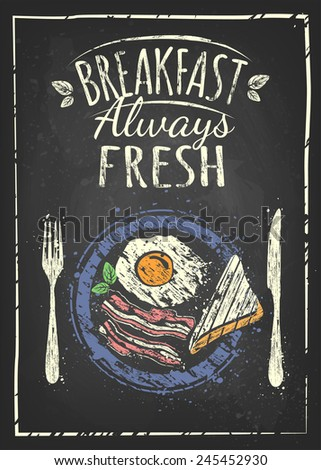 breakfast poster fried egg and