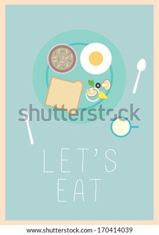 breakfast print/ vector poster design template/ layout design/ background/ abstract web design/ wallpaper