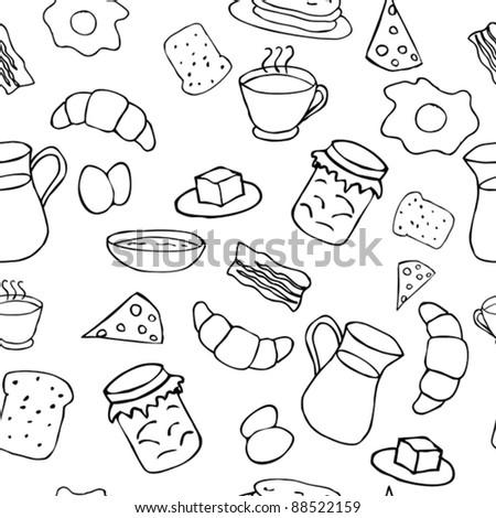 Breakfast seamless pattern in doodle style - stock vector
