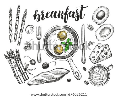 Breakfast set. Fried eggs in a frying pan, coffee, baguette, Maasdam cheese, asparagus, avocado. Food elements collection. Vector illustration. Menu, signboard template with modern style lettering.