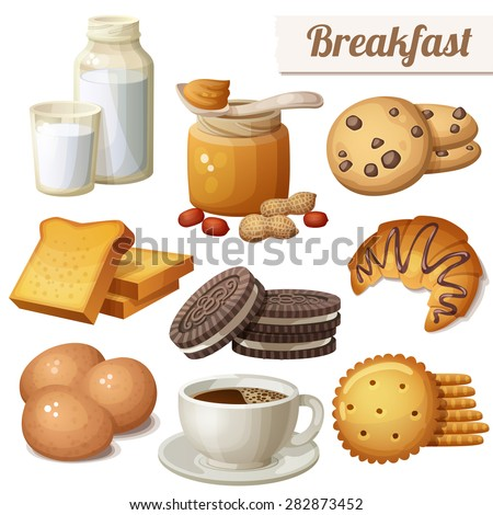 Breakfast 3. Set of cartoon vector food icons isolated on white background. Milk, peanut butter, choc chip cookies, toasted bread, chocolate cookies, croissant, eggs, coffee, crackers