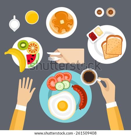 Breakfast set. Top view.