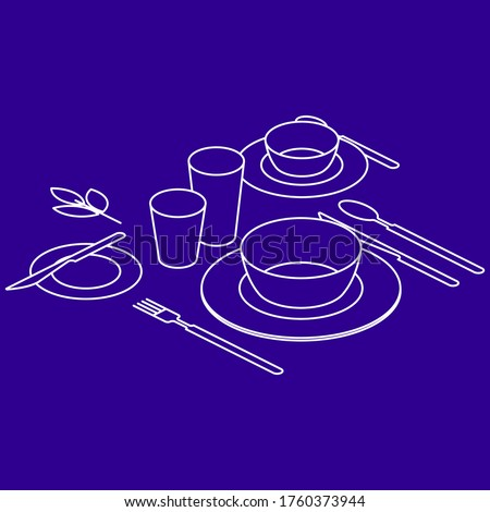 Breakfast table, isometry view. Serving of table with plates, cutlery, cup and glasses. Vector illustration Photo stock ©