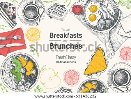 Breakfast table top view frame in color. Vintage hand drawn food sketches. Morning food and hot drinks menu vector template. Breakfasts and brunches dishes background. Engraved style breakfast design.