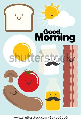 breakfast template vector/illustration