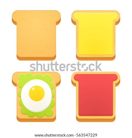 breakfast toast set slices of
