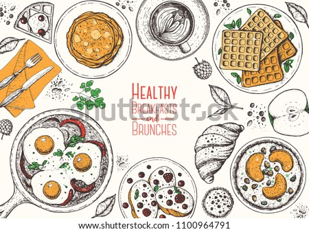 Breakfasts top view frame. Morning food menu design. Breakfast and brunches dishes collection. Vintage hand drawn sketch, vector illustration. Vintage style.