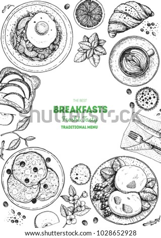 Breakfasts top view frame. Vertical poster. Morning food menu, design. Breakfast and brunches dishes collection. Vintage hand drawn sketch, vector illustration. Engraved style illustration.