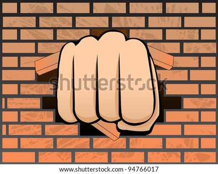 breaking  a wall of brick