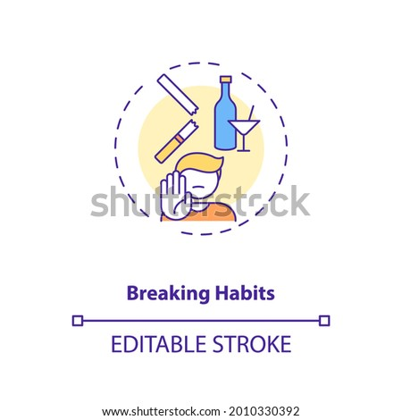 Breaking habits concept icon. Identifying triggers idea thin line illustration. Habitual behaviors. Leaving comfort zone. Vector isolated outline RGB color drawing. Editable stroke Сток-фото ©