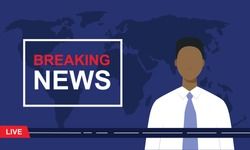 Breaking news. Black TV news presenter with world map on the dark background. Modern news broadcaster announcing live news. vector illustration in flat style.