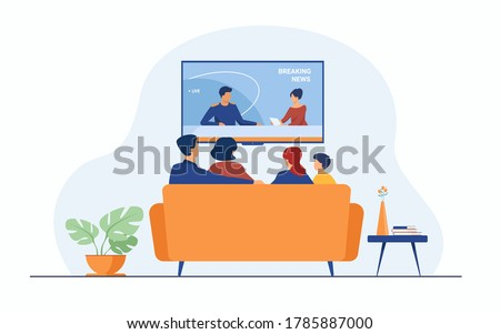 Breaking news concept. Back view of family couple and children sitting on sofa in living room, watching TV news with host interviewing guest. For television, broadcasting, media production concepts