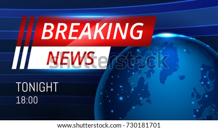 Breaking News Live Background Banner With Planet Map Business Or Technology Vector