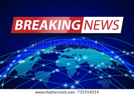 Breaking news banner background with world map descargue grficos breaking news live on blue world map background business technology concept banner design tv gumiabroncs Image collections