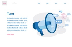 BREAKING NEWS. Promotion concept. Loudspeaker. Vector illustration for web banner, infographics, mobile.