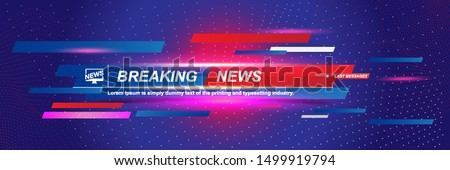 Breaking News template title with shadow and light effects on the technology background for screen TV channel. Flat vector illustration EPS10
