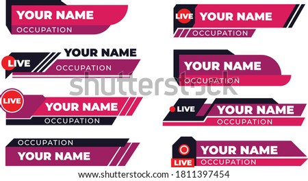 Breaking news TV banners set. Lower header, channel name or emblem with text, third part bottom line. Flat vector illustrations for television, broadcasting, video content concept Сток-фото ©