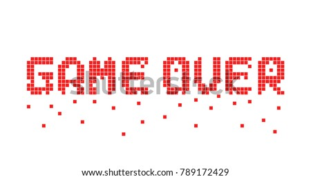 breaking up pixel game over text. 8 bit flat cartoon style trend modern logotype graphic pixelart design isolated on white background. concept of gameover in old classic videogame or level final