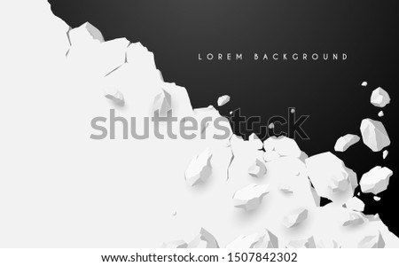 Breaking white wall on black background