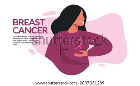 Breast Cancer awareness banner illustration. Faceless woman with pink ribbon. Pink october month female healthcare campaign solidarity web template design. Pinktober flat vector cartoon illustration