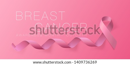 Breast Cancer Awareness Calligraphy Poster Design. Realistic Pink Ribbon. October is Cancer Awareness Month. Vector Illustration