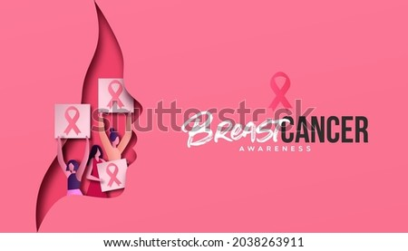 Breast Cancer Awareness card illustration of 3D papercut face and girls at female protest or women disease prevention event. Pink cutout with paper craft activist team for medical cure concept.