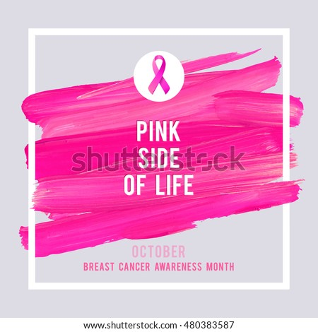Shutterstock Breast Cancer Awareness Creative Pink Poster. Brush Stroke and Silk Ribbon Symbol. World October Breast Cancer Awareness Month Banner. Pink stroke and text. Medical Design