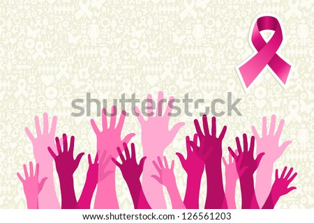 Breast cancer awareness hand people campaign over icon set background Vector file layered for easy manipulation and custom coloring