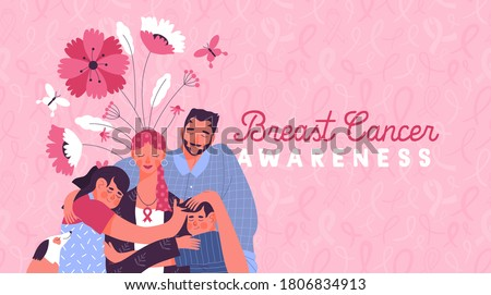 Breast cancer awareness illustration, happy family hugging mom.  Children and father hug mother, pink ribbon and spring flowers. Flat cartoon design for solidarity campaign, survivor support.