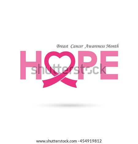 Breast cancer awareness logo design.Breast cancer awareness month icon.Realistic pink ribbon logo.Pink care logo.Hope word logo elements design.Vector illustration