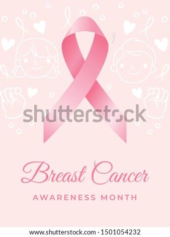 Breast Cancer Awareness Month. Awareness Ribbon. Vector Illustration