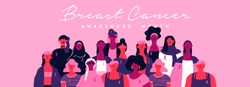 Breast Cancer awareness month banner illustration of diverse ethnic women group with pink support ribbon. Woman march or parade concept for prevention campaign.