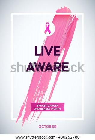 Breast Cancer Awareness Month Design. Pink Brush Stroke Poster. Creative Pink Brush Stroke and Silk Ribbon Symbol. October Awareness Month Banner. Medical Design Elements with Grunge Texture