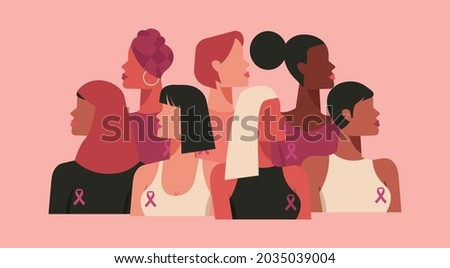 breast cancer awareness month for disease prevention campaign and diverse ethnic women group together with pink support ribbon symbol on chest concept, flat vector illustration