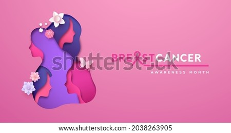Breast Cancer awareness month greeting card illustration of 3D papercut female group faces. Pink cutout with paper craft young woman team for health prevention event in october.