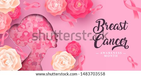 Breast Cancer awareness month greeting card illustration of papercut woman head silhouette with pink ribbon and rose flowers. Feminine design for women health campaign.