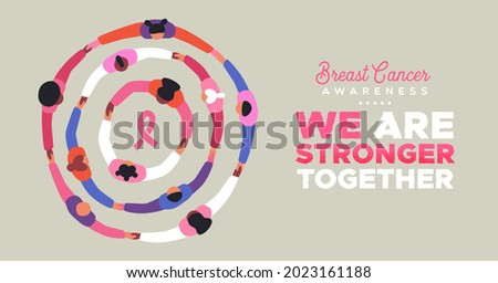 Breast Cancer Awareness month greeting card illustration of pink people group holding hands together for women health support. Woman family or friends united, october campaign event.