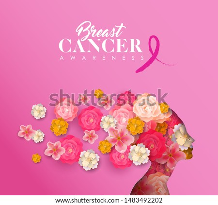 Breast Cancer Awareness month greeting card of papercut woman head silhouette with pink flowers. Paper cutout girl for campaign help, prevention or women support.
