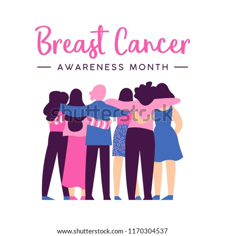 Breast Cancer Awareness month illustration of diverse women friend group hugging together for help and support, girl team hug concept. EPS10 vector.