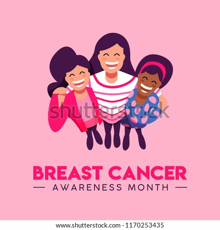 Breast Cancer Awareness Month illustration of girl friend group together for love and support. Diverse woman team hug, happy friends smiling concept. EPS10 vector.