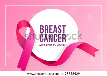 Breast cancer awareness month poster background concept design. Realistic pink bow ribbon with circle badge vector illustration template