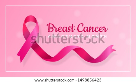 Breast Cancer Awareness Month poster background design concept. Realistic Pink Ribbon graphic symbol vector illustration.