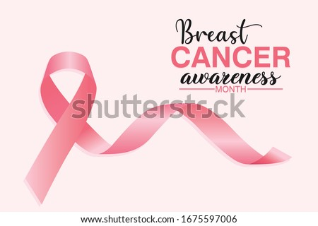 Breast cancer awareness month poster,  with pink ribbon background design. Vector Illustration
