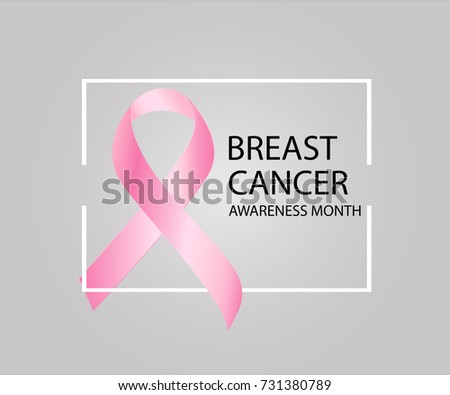 Breast Cancer Awareness Month. Realistic pink ribbon, breast cancer awareness symbol. Vector illustration #731380789