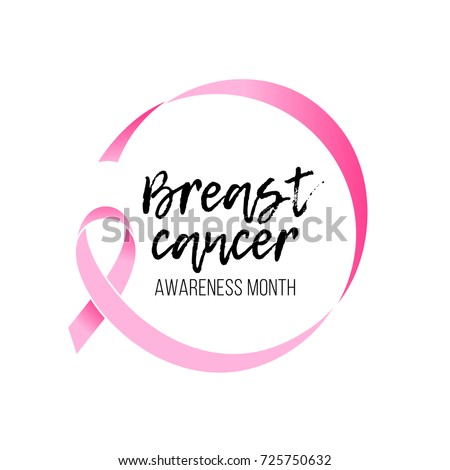 Breast cancer awareness month round emblem with hand drawn lettering. Vector pink ribbon circle icon on white background. #725750632