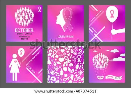 03120aa2e3b4 Breast Cancer Awareness Month. Set of Banners, Flyers, Placards and Posters